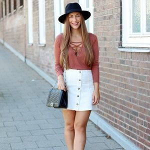 Old Navy White Button Down Jean Skirt | 12